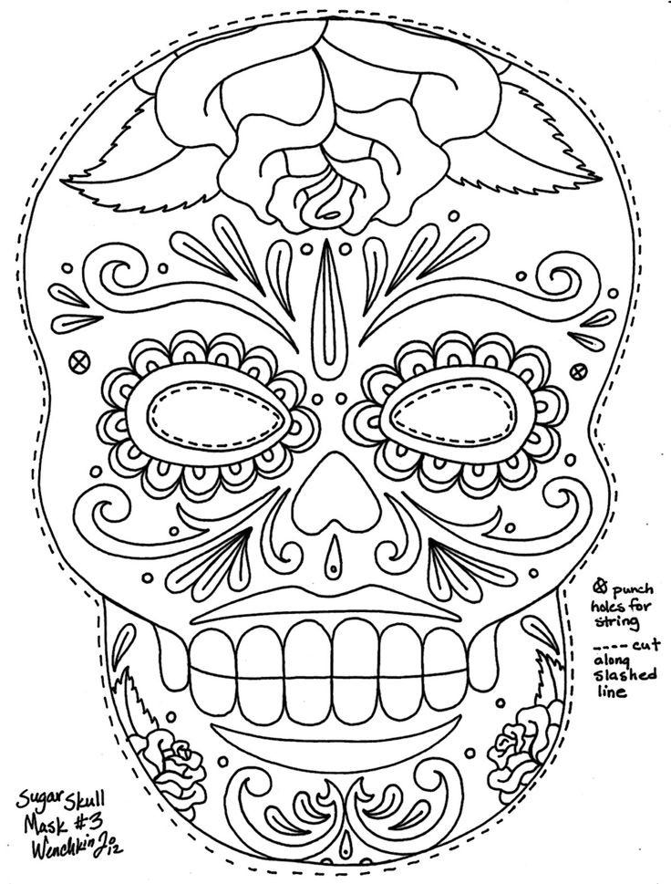 736x969 Day Of The Dead Masks Coloring Pages Kids Art Journal Colouring