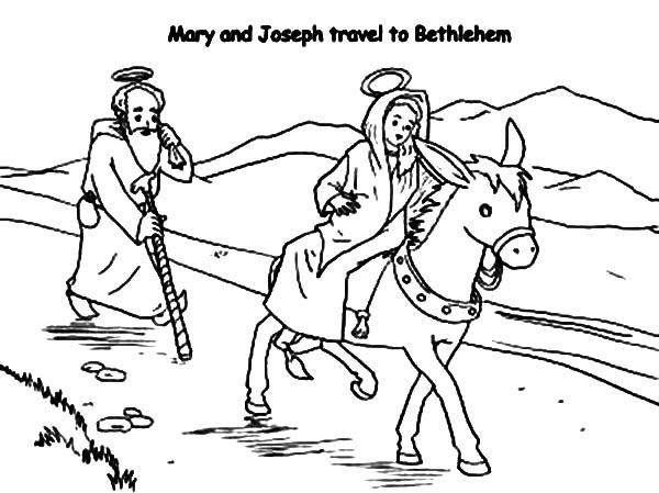 600x449 Mary And Joseph Travel To Bethlehem Coloring Pages