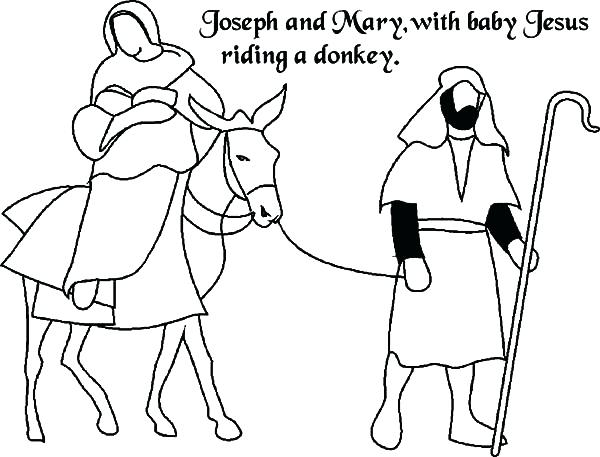 600x457 Mary And Joseph Travel Bethlehem Coloring Pages And Travel