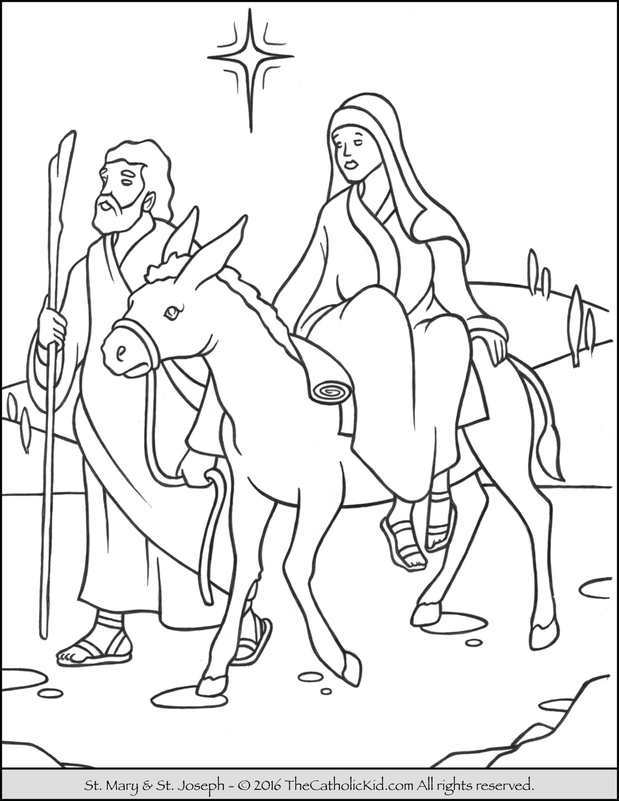1275x1650 Mary Joseph To Bethlehem Advent Coloring Page