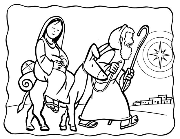 621x480 Mary And Joseph Journey To Bethlehem Coloring Page Ceci