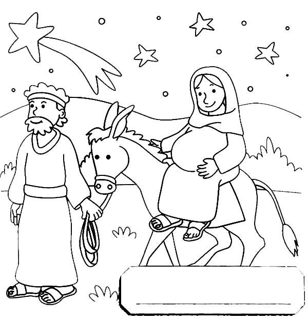 600x626 Mary And The Donkey Travel To Bethlehem Coloring Pages Best