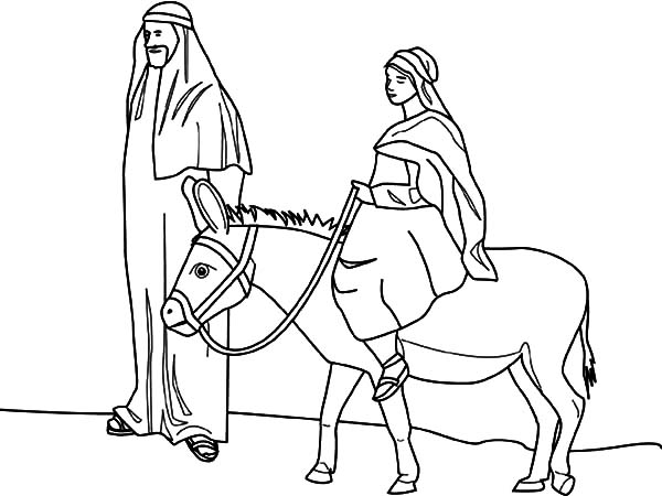 600x450 Mary And The Donkey And Joseph Journey To Bethlehem Coloring Pages