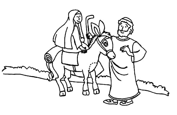 600x390 Mary And The Donkey And Joseph From Nazareth Coloring Pages Mary