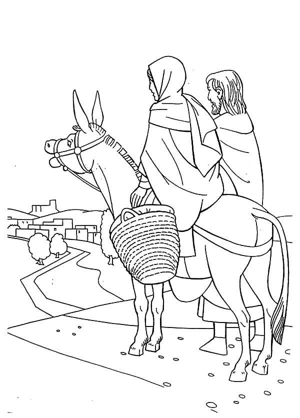 600x836 Cartoon Mary Joseph And The Donkey Lds Coloring Page Mary Joseph