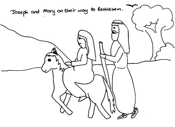 600x437 Joseph And Mary And The Donkey On Their Way To Bethlehem Coloring