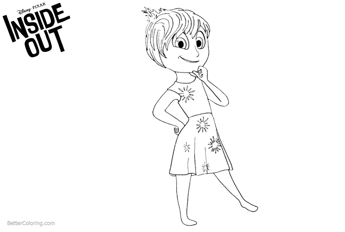1100x740 Inside Out Coloring Pages Joy Line Drawing