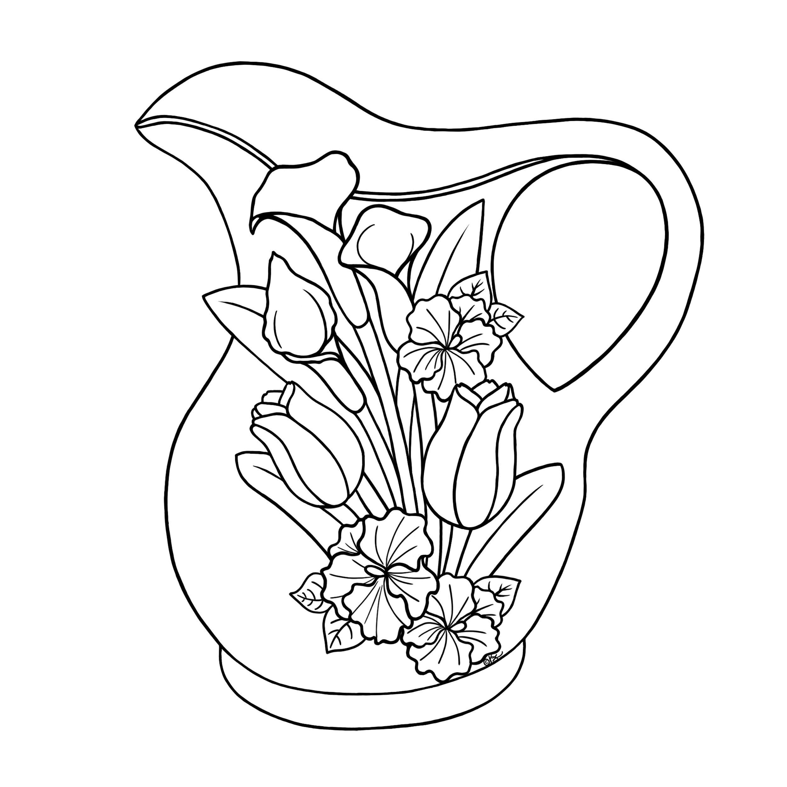 2500x2500 Floral Jug Bw Diy Crafts Painting Patterns