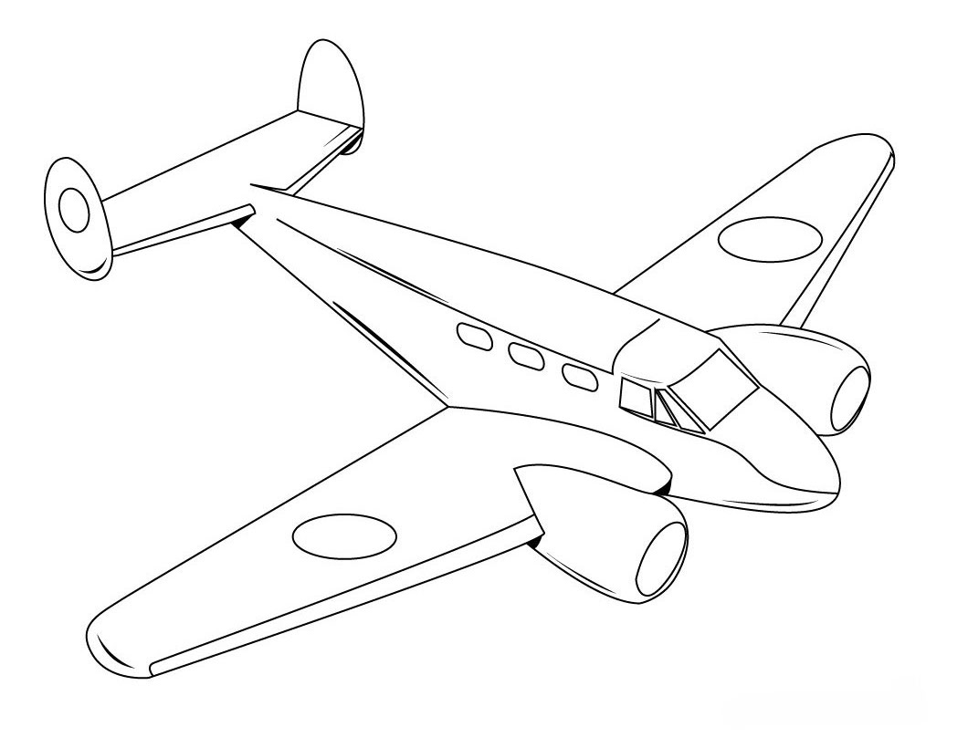 1060x820 Airplane Coloring Page Printable, Letter A Is For Airplane