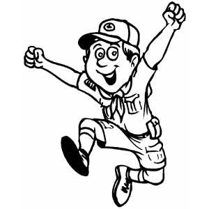 300x300 Happy Jumping Boy Scout Coloring Page