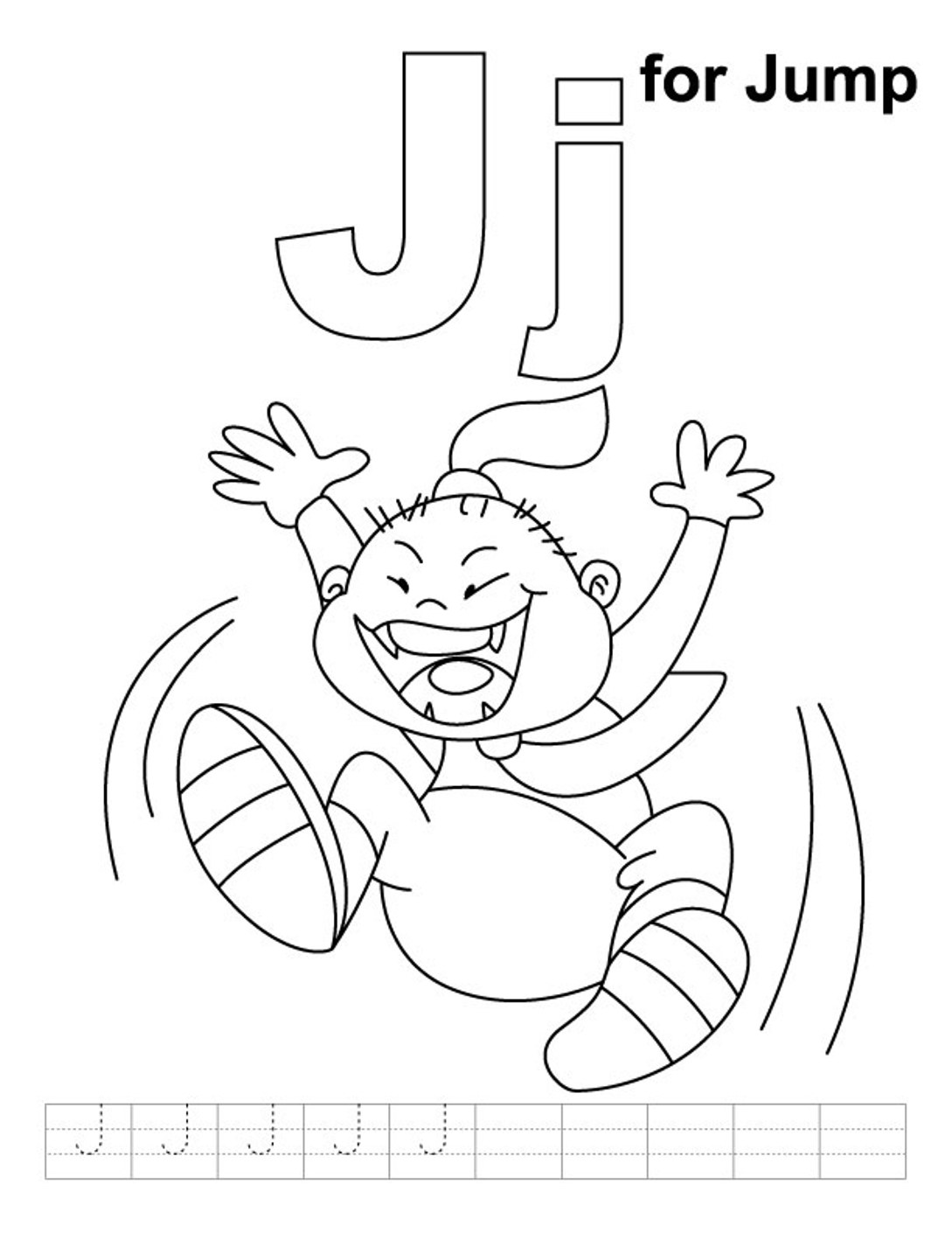 1089x1410 J Is For Jump Alphabet Coloring Page February Themes