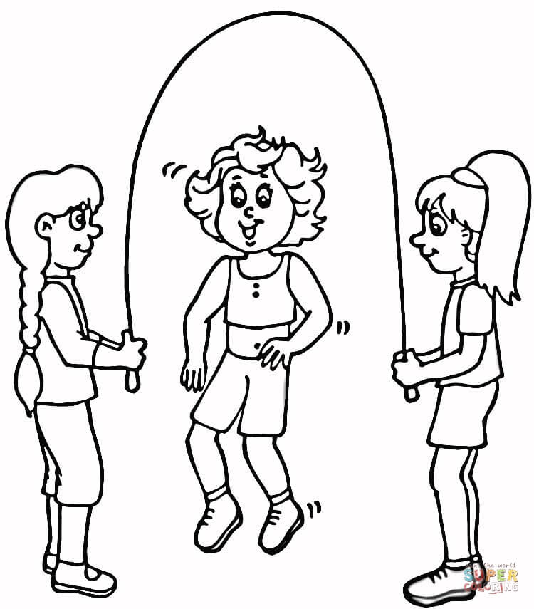 750x855 Rope Coloring Pages Children Jump Rope Coloring Page Free