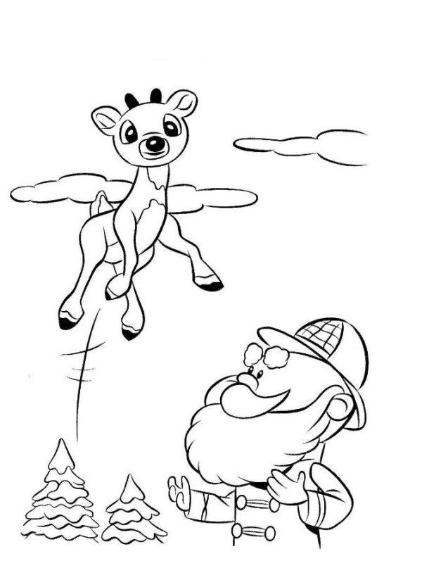 600x807 Rudolph Reindeer Jump Coloring Page