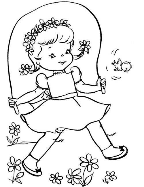500x650 Small Kids Played Spring Coloring Pages Coloring Pages Kids