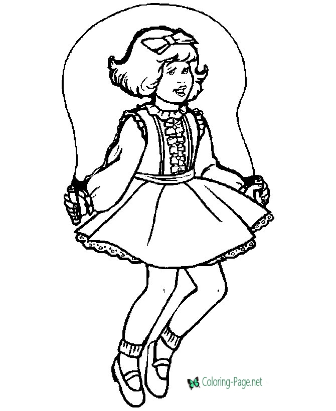 670x820 Children Coloring Pages Girl Jumping Rope