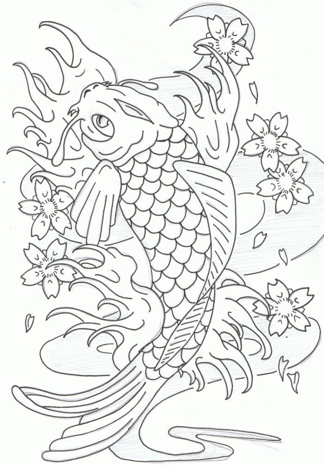 640x918 Koi Fish Coloring Pages