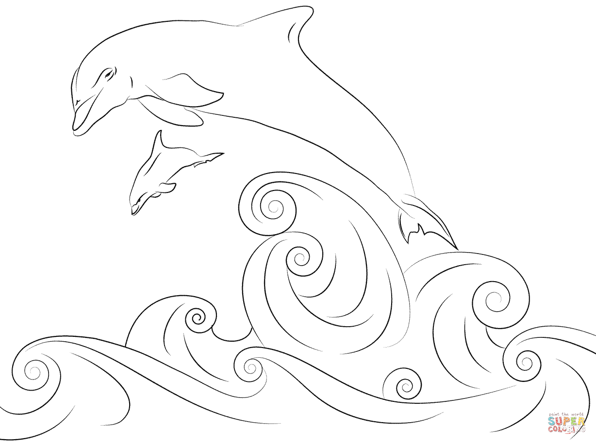 1228x916 Dolphin And Several Little Fish Coloring Page Free Printable