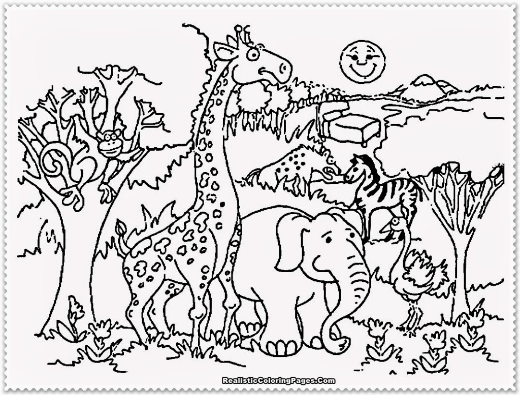 Jungle Animals Coloring Pages Preschool