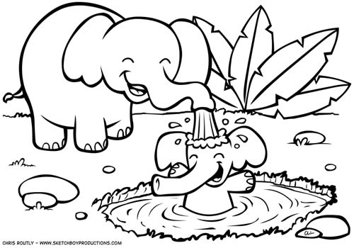500x350 Jungle Animals Coloring Pages
