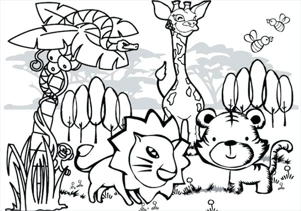 600x420 Jungle Coloring Page As Well As Jungle Animals Coloring Page Free