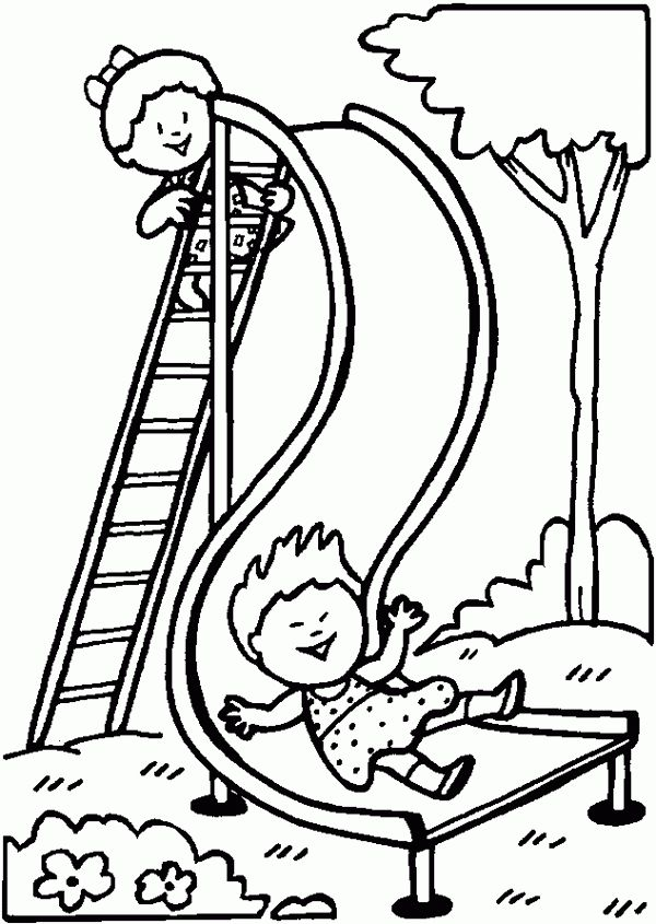 600x845 Playground Clipart Coloring Page