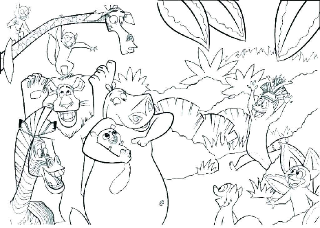 1024x731 Jungle Animals Coloring Page Jungle Junction Coloring Pages Jungle