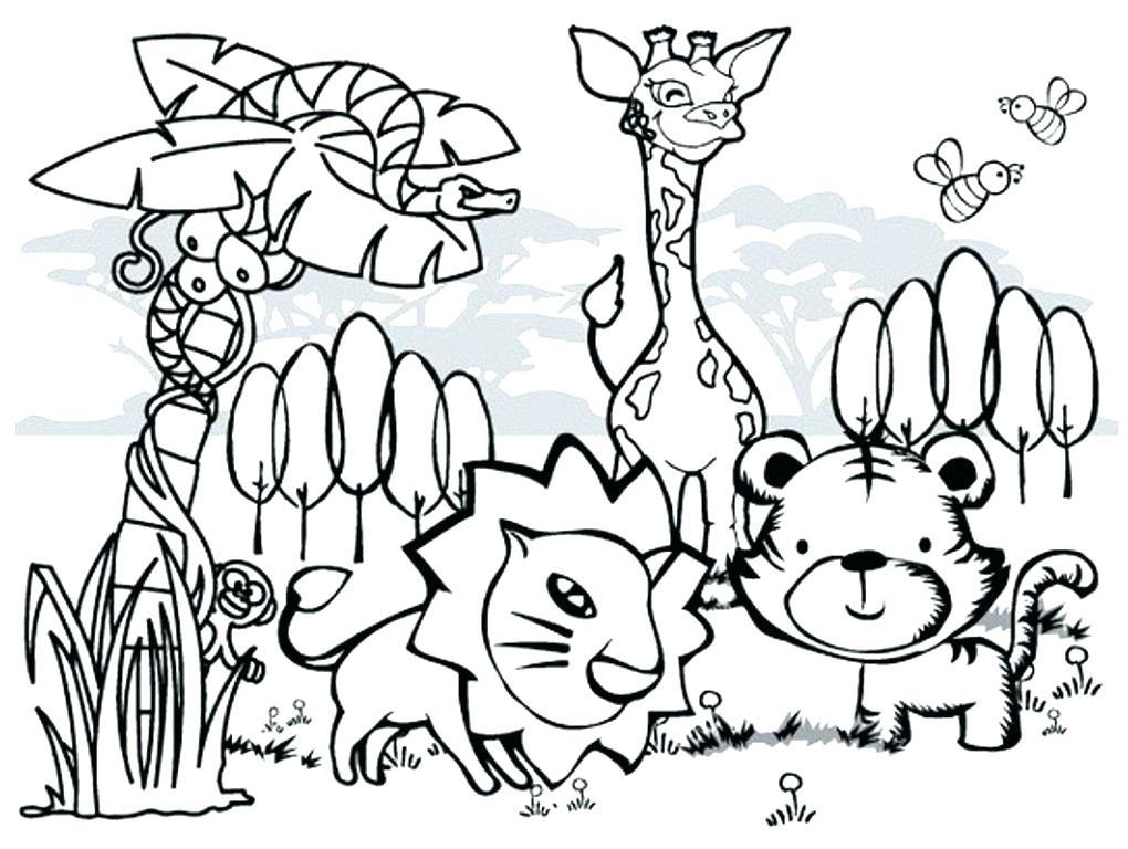 1020x768 Jungle Animal Scene Coloring Pages Safari