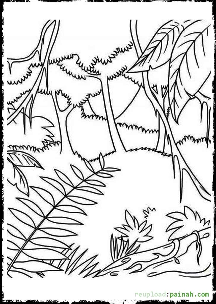 728x1024 Jungle Scene Coloring Pages