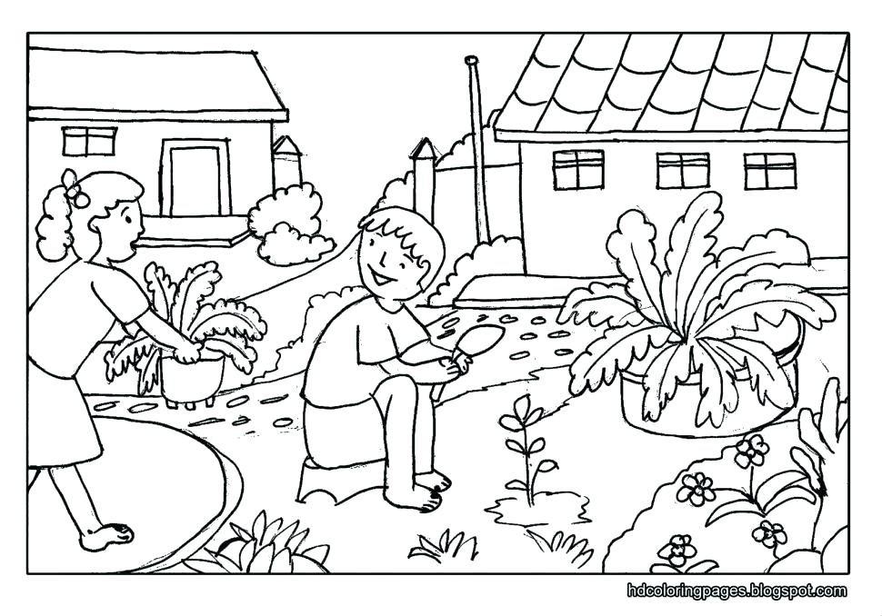 970x678 Nature Coloring Pages Country Scenery Coloring Pages Scene Nature