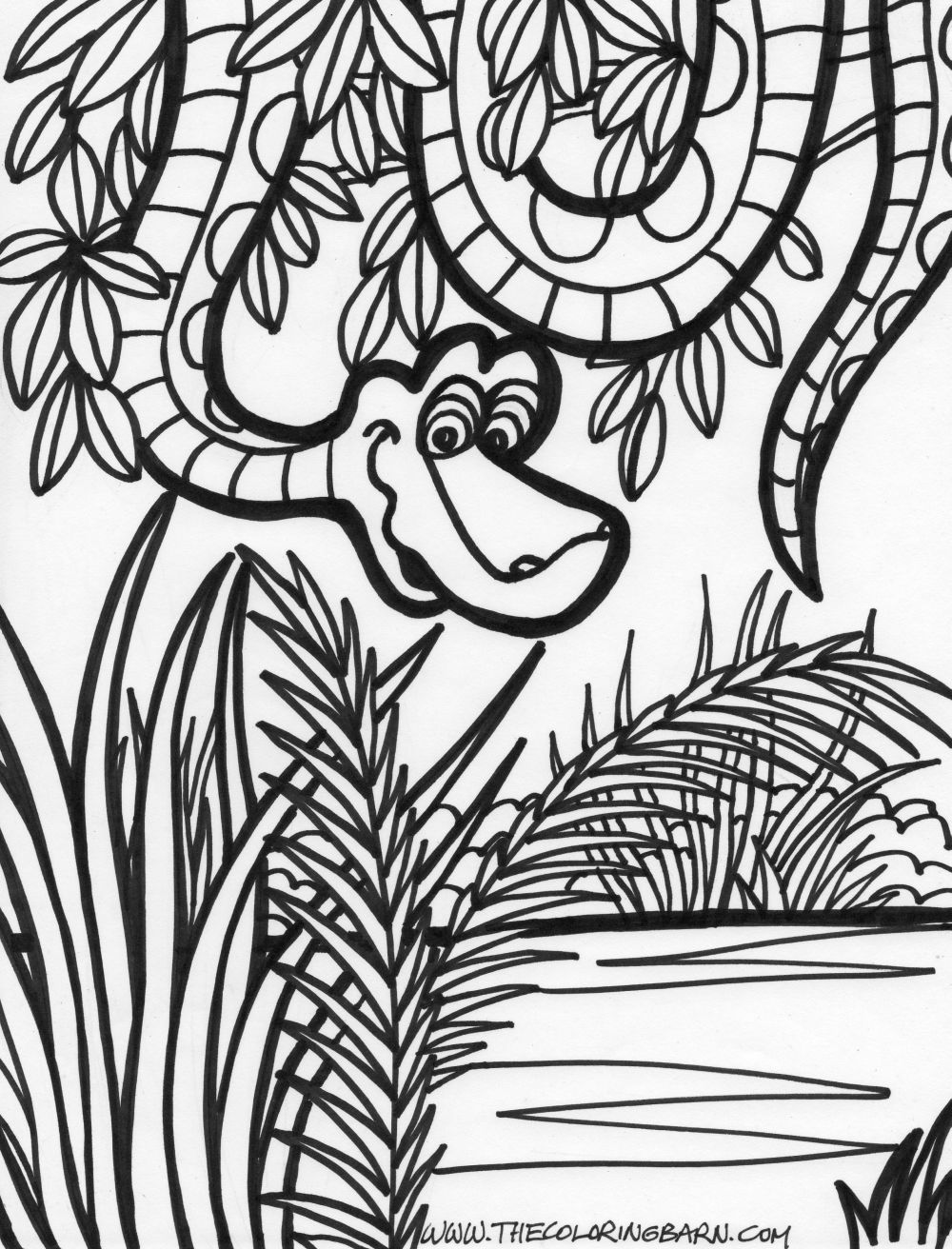 1000x1312 Jungle Coloring Pages Jungle Scene Coloring Page Jungle Snake