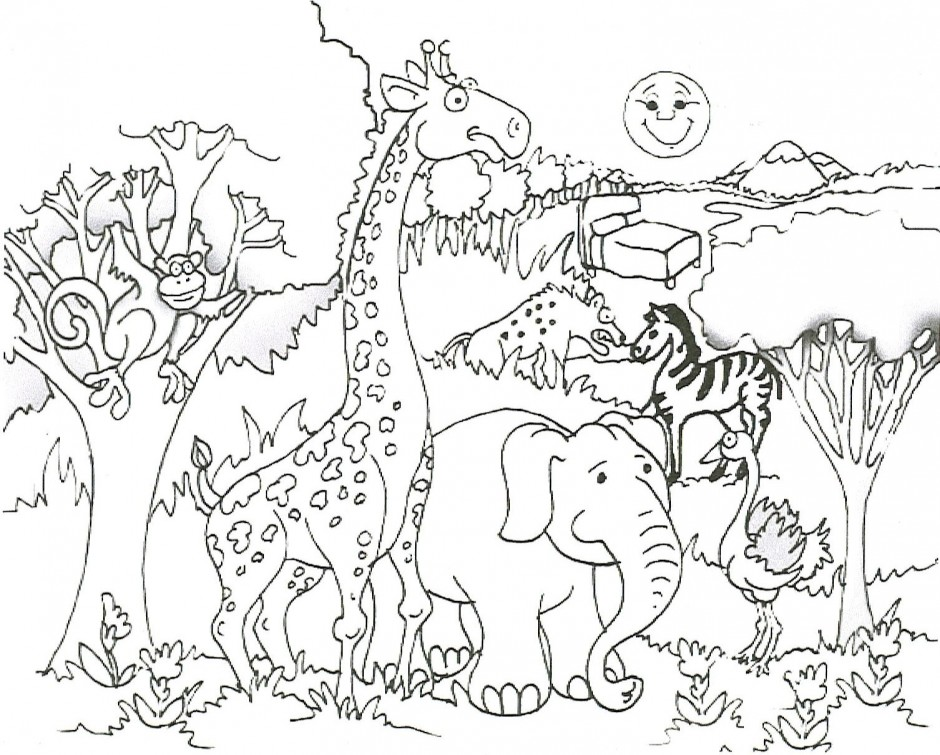 Jungle Scene Coloring Pages At Getdrawings Free Download