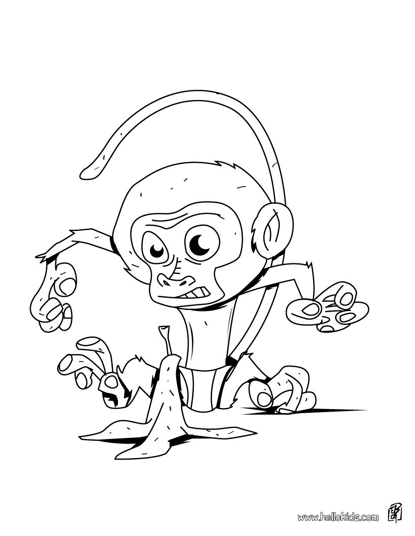 820x1060 Baby Monkey In The Tree Coloring Pages