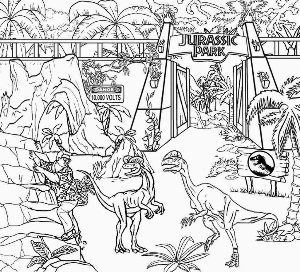 1024x931 Modest Jurassic Park Coloring Pages