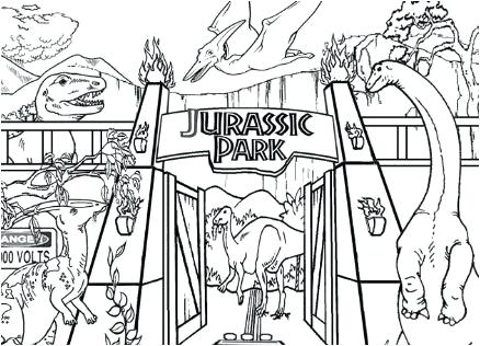 438x316 Up Close Coloring Also Park Coloring Page Lego Jurassic Park