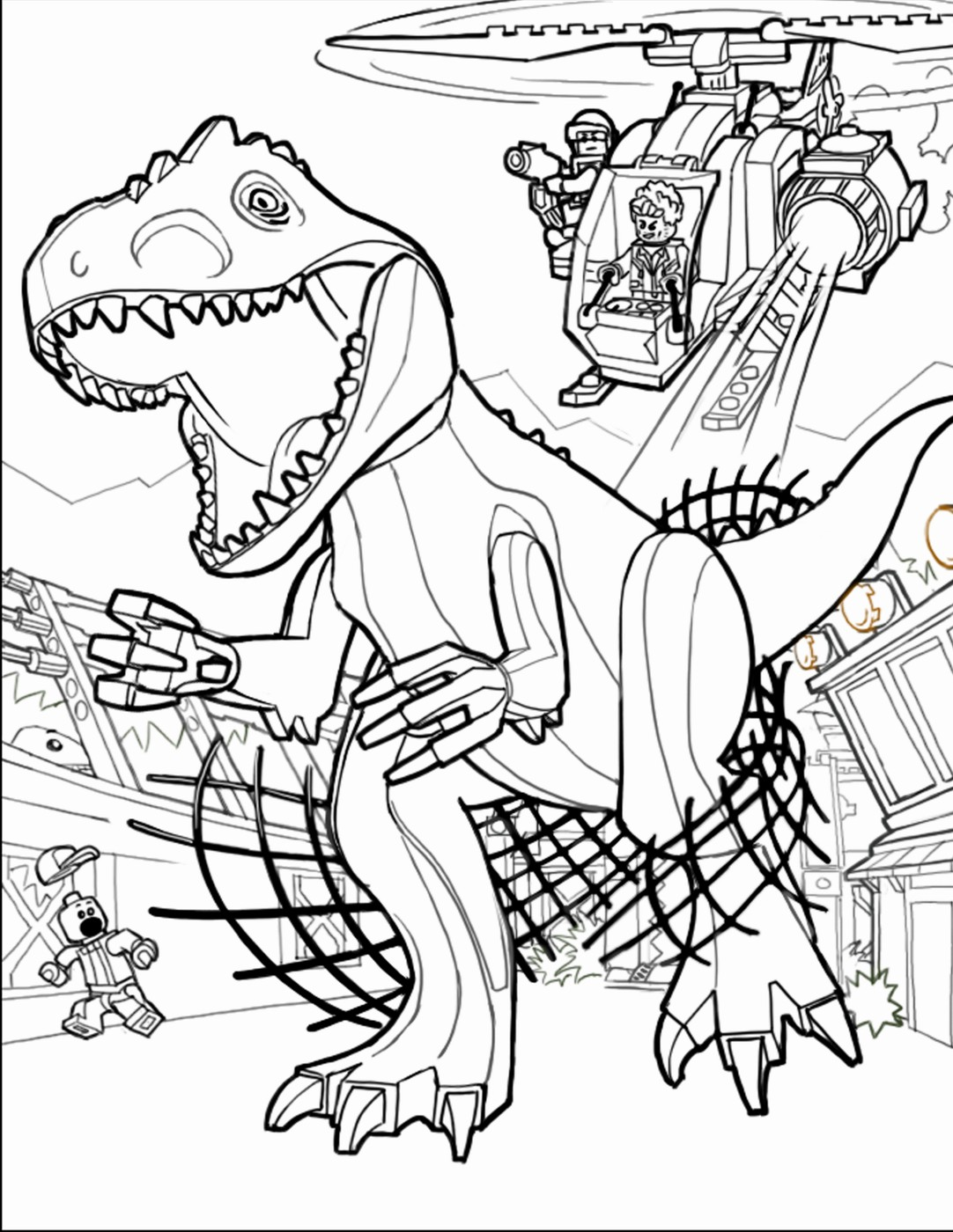 1082x1400 Jurassic World Coloring Pages Online New Superb Lego Coloring