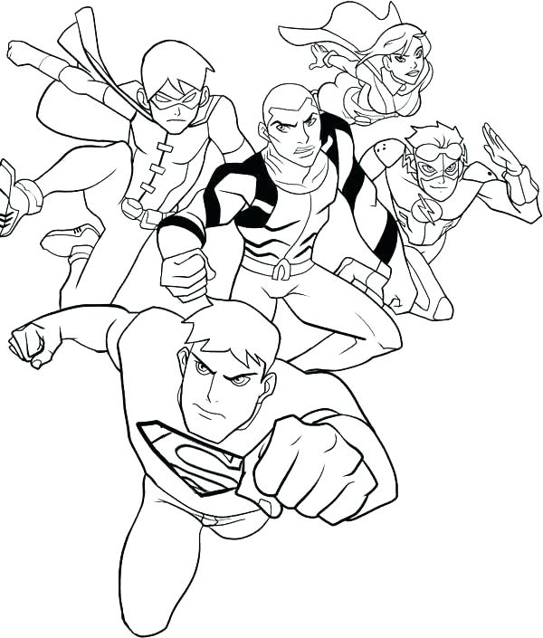 600x705 Coloring Pages Justice League Justice League Of Coloring Pages
