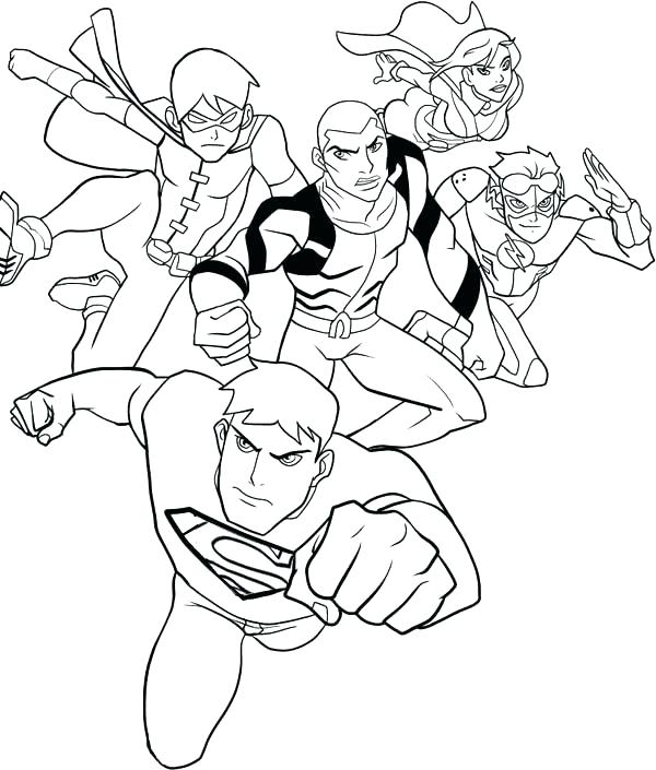 600x705 Justice League Coloring Pages To Print Young Justice Coloring