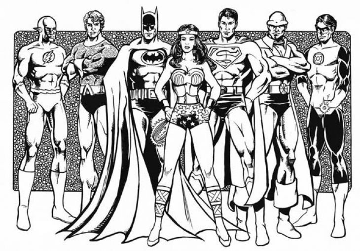 730x508 Free Justice League Printable Coloring Page Superheroes Coloring