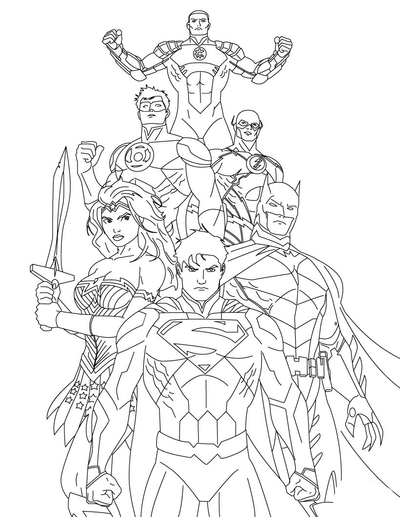 820x1060 Justice League Cartoon Coloring Pages Printable Coloring Sheets