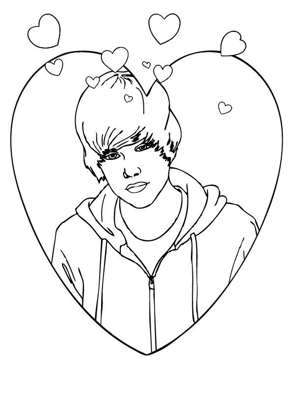 595x842 Coloring Page Of Justin Bieber Valentines Day