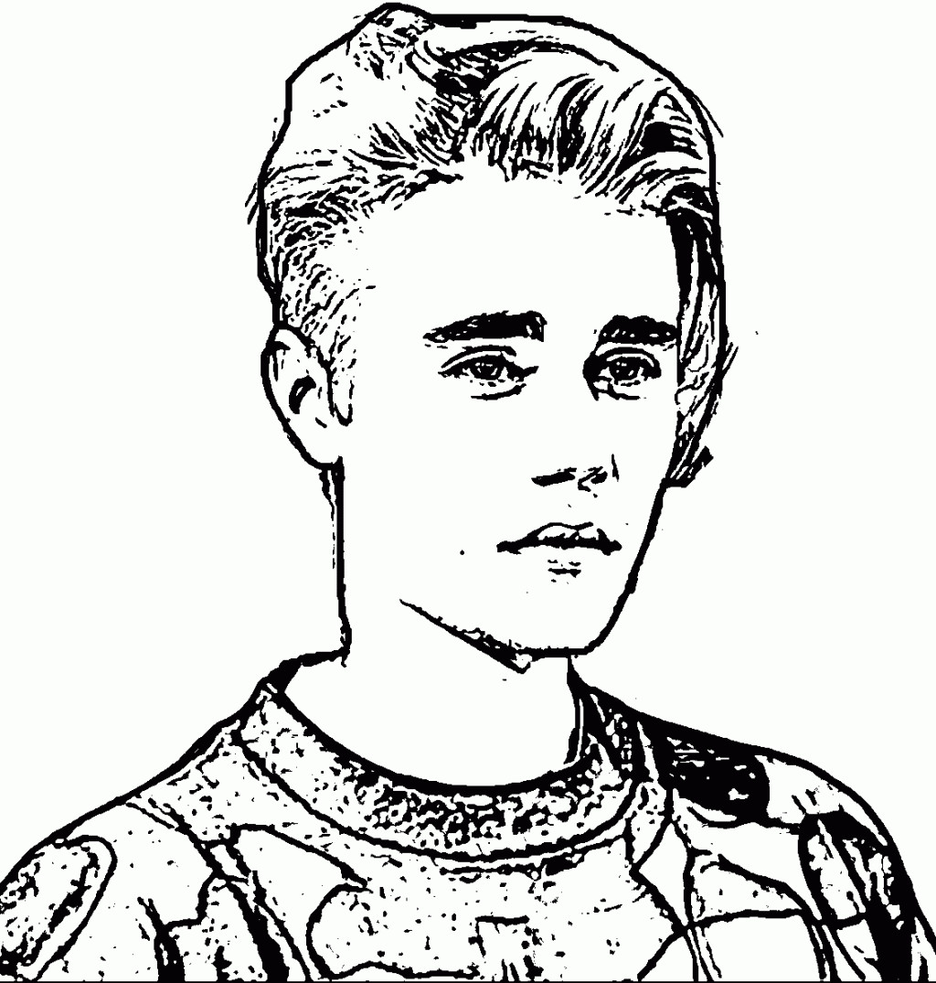 1024x1075 Coloring Pages To Print Of Justin Bieber Cute Music Icon Printable