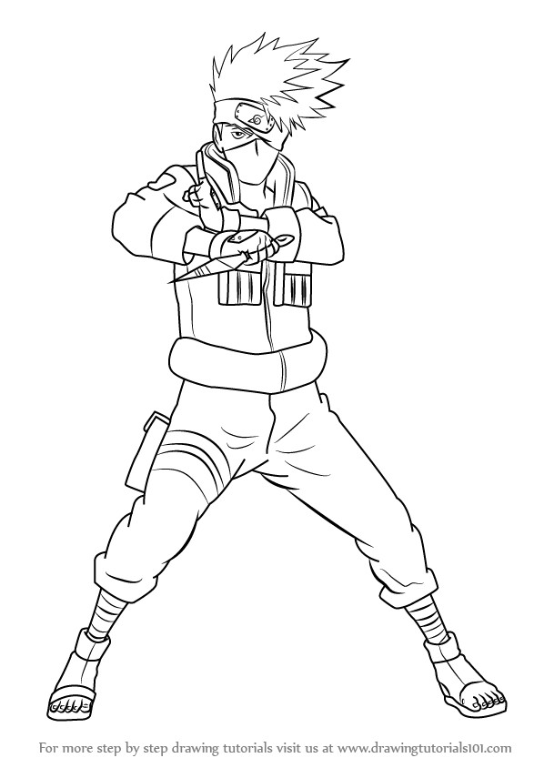 598x844 Learn How To Draw Kakashi Hatake From Naruto Naruto Step