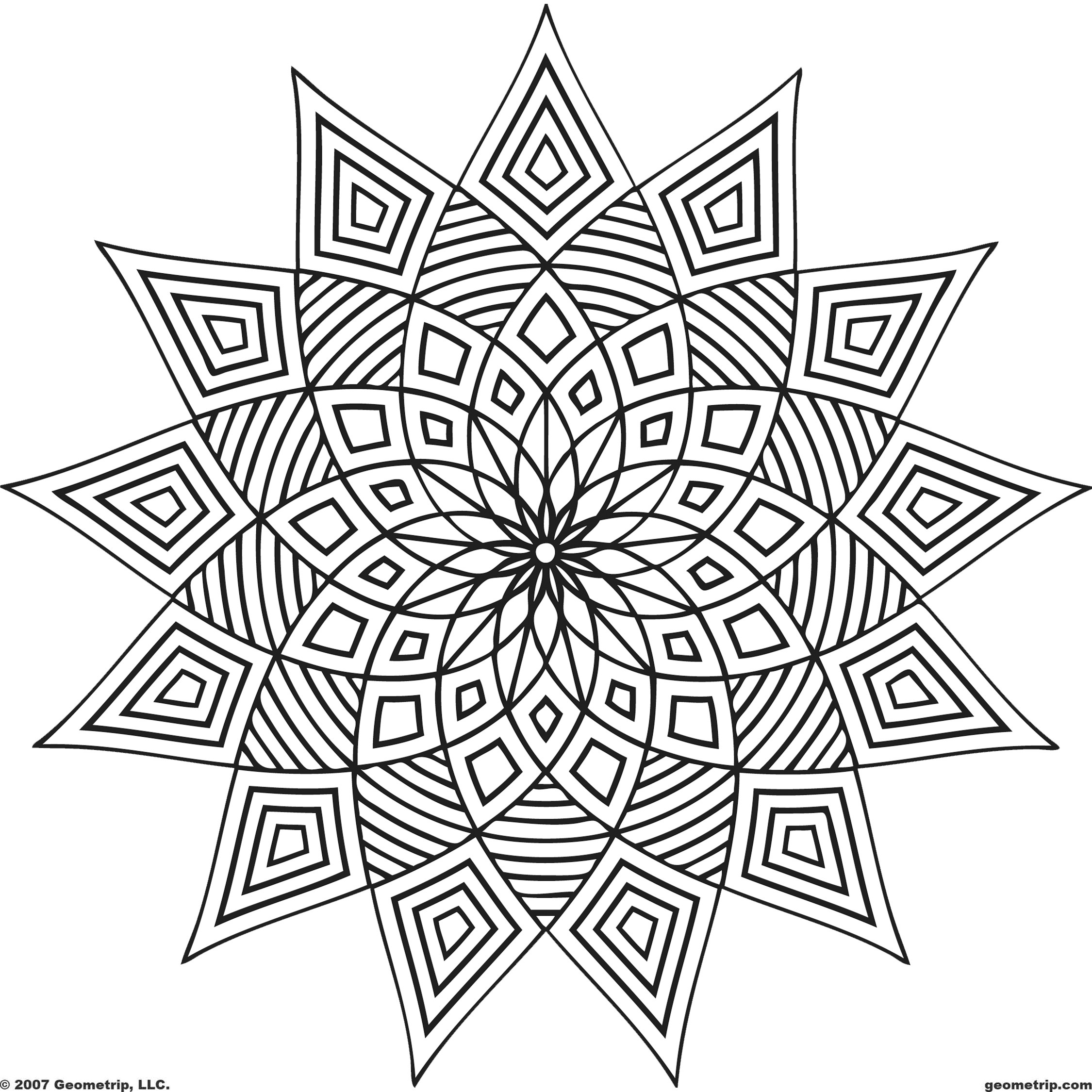 2250x2250 Kaleidoscope Coloring Pages Ribsvigyapan Com Wonders Simple