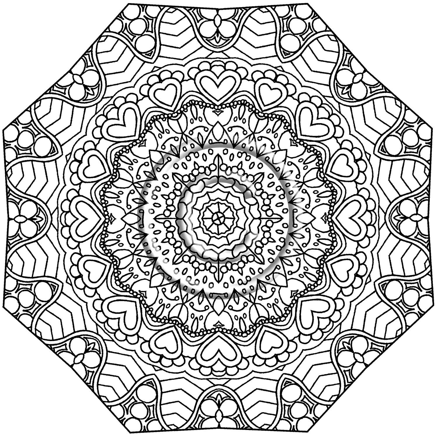 1500x1488 Instant Pdf Download Coloring Page Hand Drawn Zentangle Inspired