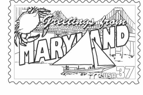 497x332 Maryland State Stamp Coloring Page Classbrain's State Reports