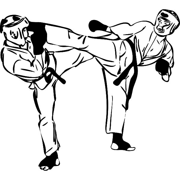 600x600 Karate Fighting Championship Coloring Pages Batch Coloring