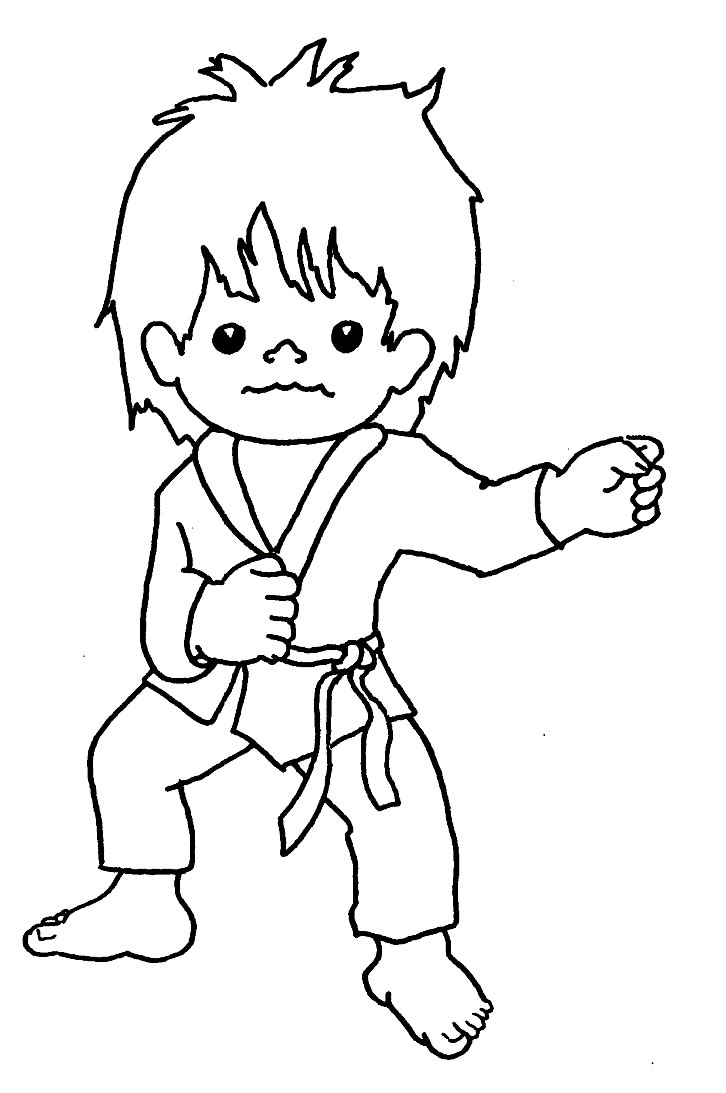 726x1093 Sports Karate Kid Free Coloring Page Pages