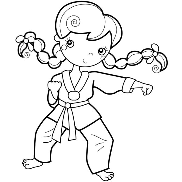 600x600 Girl Training Karate Coloring Pages Batch Coloring