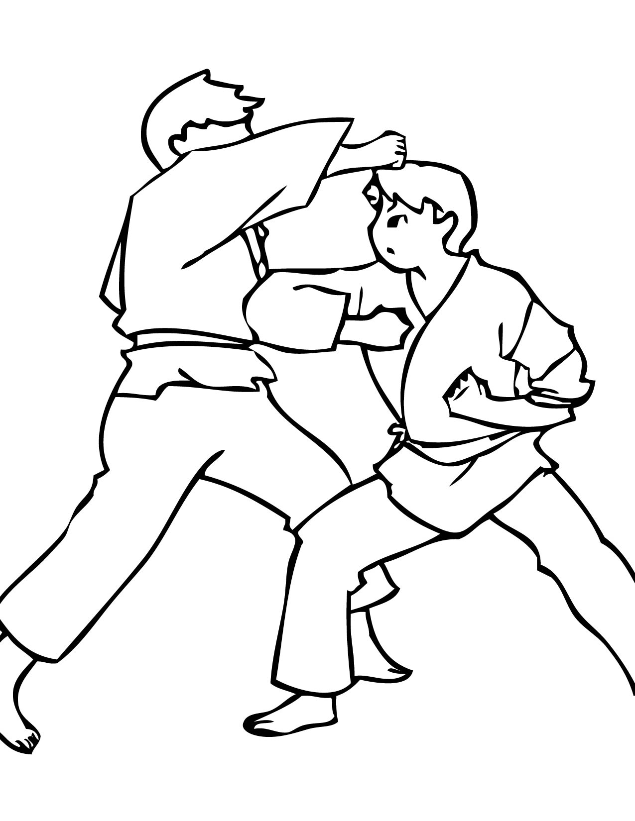 1275x1650 Karate Coloring Page