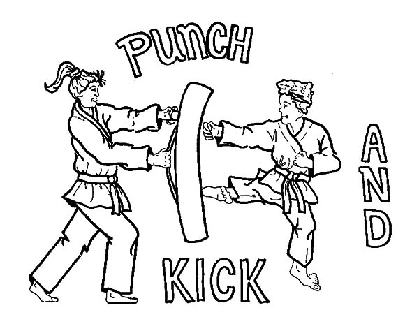 600x464 Karate Kid Coloring Pages Karate Kick And Punch Coloring Pages